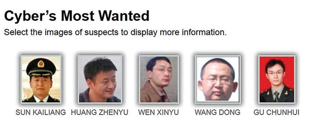 美國司法部首次以網絡間諜罪名,起訴5名均為中共 61398部隊第3支隊的成員。(FBI官網)