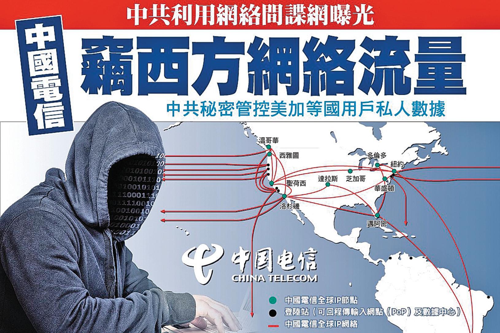 反制中共竊取知識產權的動作頻繁,除起訴十名包括中共國安在內的大陸黑客間諜、制裁大陸晶片商——福建晉華外,中共最大央企巨頭、第三大電信公司——中國電信,也被揭劫持西方關鍵網絡,從事黑客間諜活動。(大紀元合成圖)