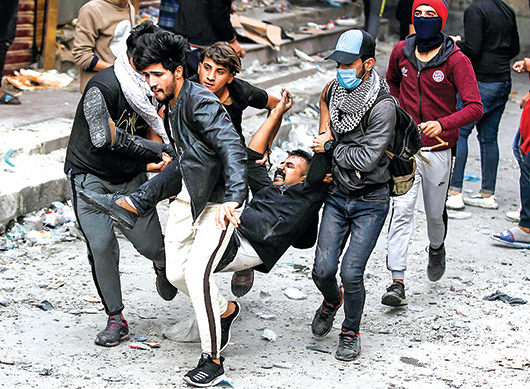 圖為11月29日巴格達抗議現場。(Getty Images)