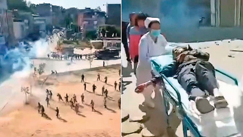 化州民眾抗議當地政府欺騙民眾、修建火葬場,遭到警方鎮壓。(影片截圖)