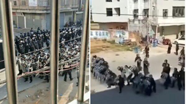 化州民眾抗議當地政府欺騙民眾,修建火葬場,遭到警方鎮壓。(影片截圖)