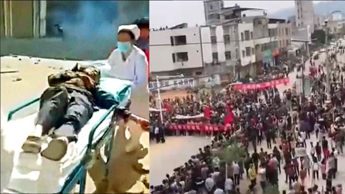 連日來,廣東茂名化州市文樓鎮的民眾,反對當地興建火葬場,爆發大規模抗爭。(影片截圖)