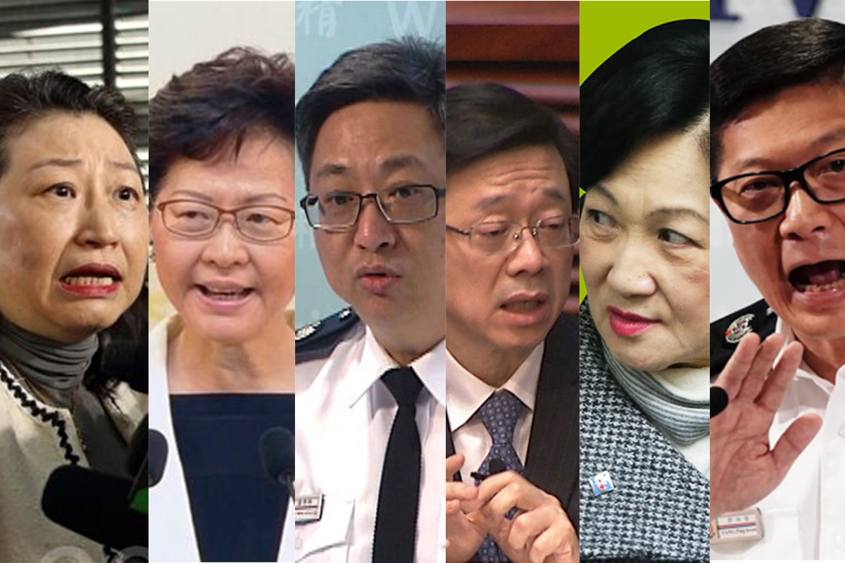 網絡熱議香港首批制裁名單 強推逃犯修例的六名港府高官被指難逃罪責。(大紀元合成圖)