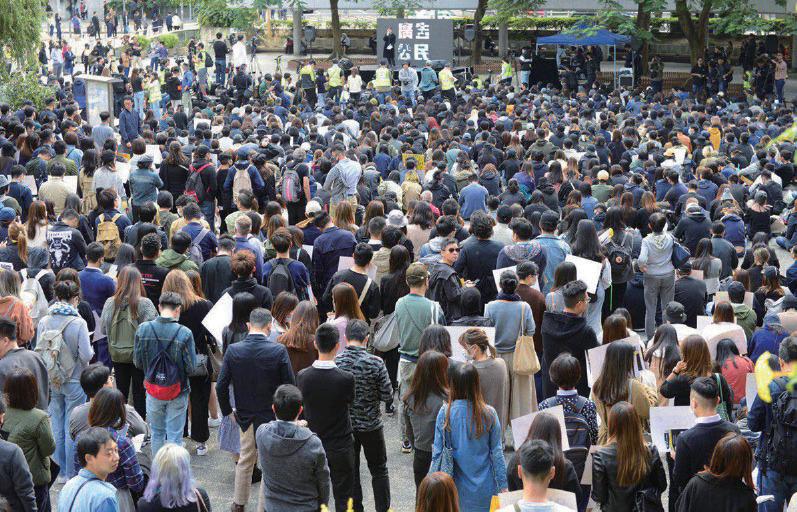 「廣告公民」昨日起舉行一連五天的罷工集會,要求政府回應民間五大訴求。(余天祐/大紀元)