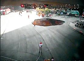 廣州幹道路面塌陷  兩車陷入3人失蹤