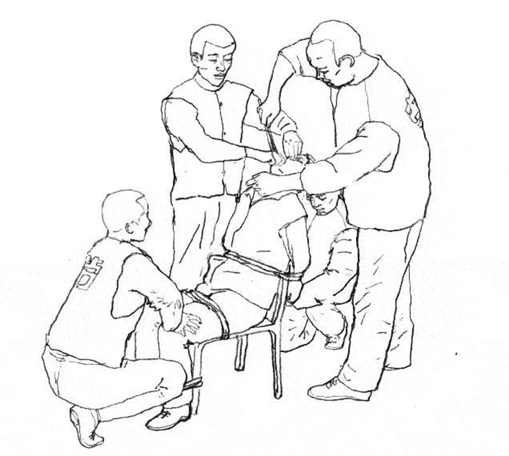 法輪功學員反迫害絕食中,警察用灌食殘害法輪功學員。此為示意圖。(明慧網)