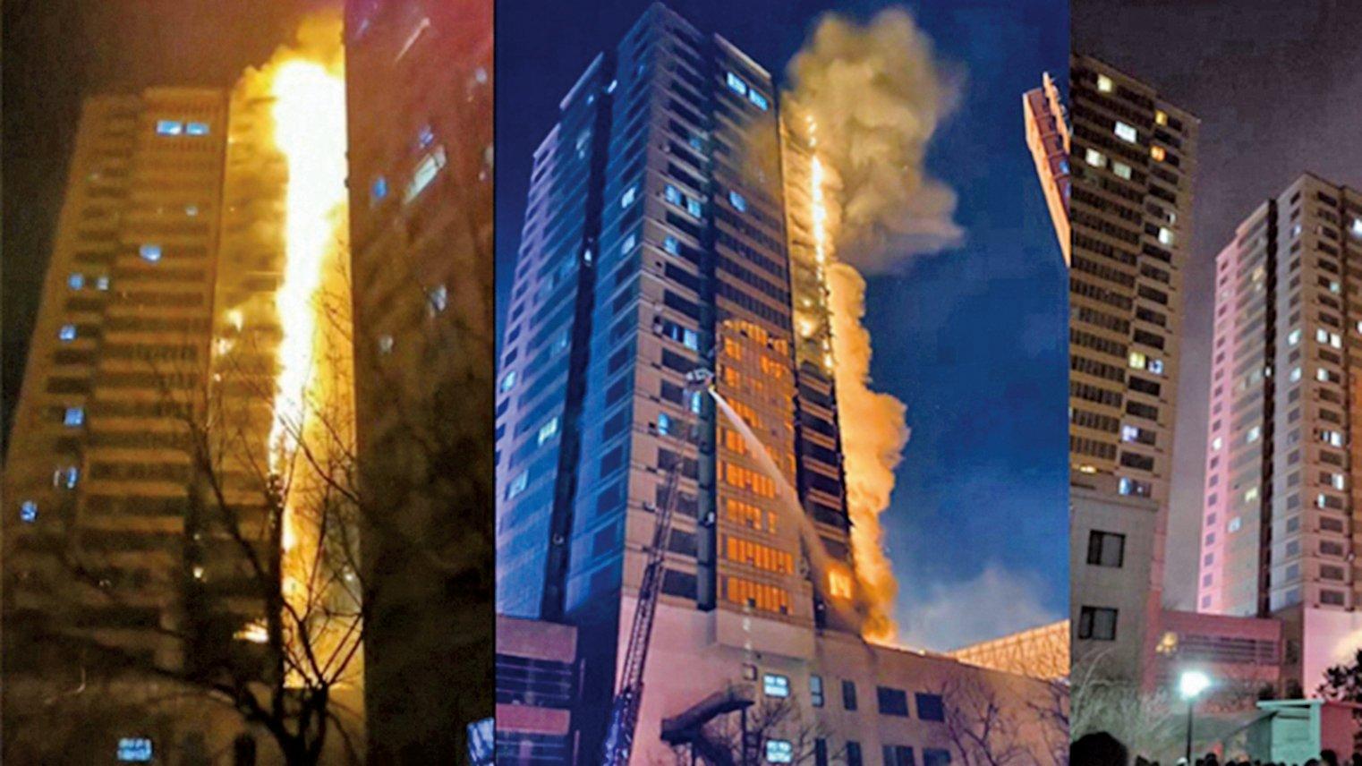 12月2日晚,瀋陽市渾南區SR國際新城住宅區發生大火,火光沖天。(網絡圖片)