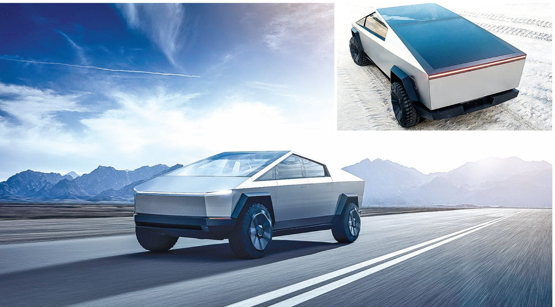 特斯拉發佈了首款電動皮卡Cybertruck,其顛覆傳統的設計,震撼市場。小圖:後貨箱上面的折疊蓋板可以選擇太陽能發電。(Tesla)