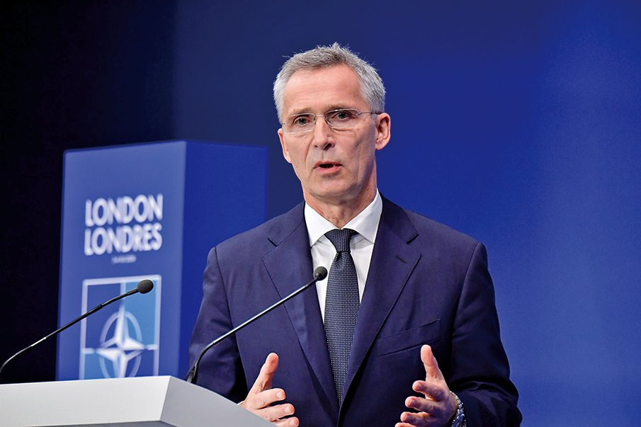圖為12月4日在倫敦召開北約峰會的北約秘書長斯托爾滕貝格。(AFP)