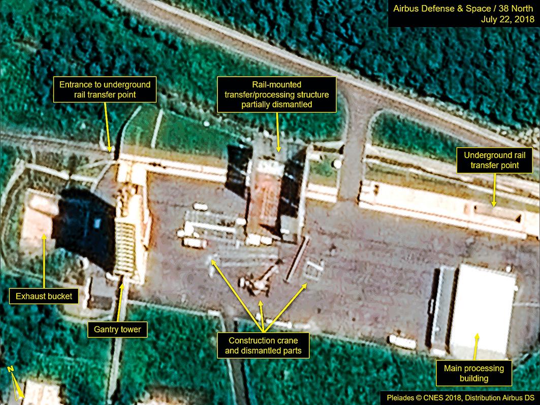 衛星圖像顯示,2018年7月,北韓Sohae衛星發射站的設施已拆除。但日前最新衛星圖像顯示,這裏又有新動態。(AFP)