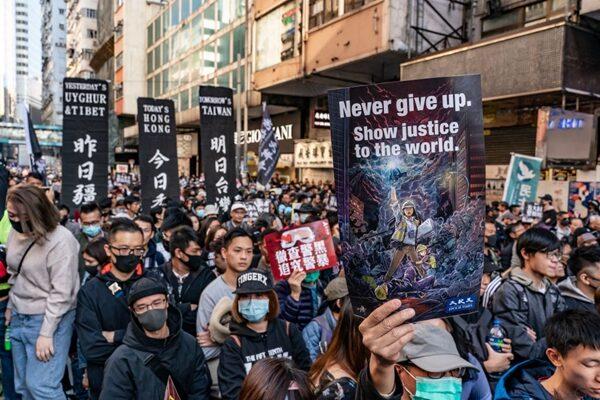 12月8日,80萬港人再次走上街頭反送中,民眾沿途高喊「五大訴求,缺一不可!」等口號。(Anthony Kwan/Getty Images)