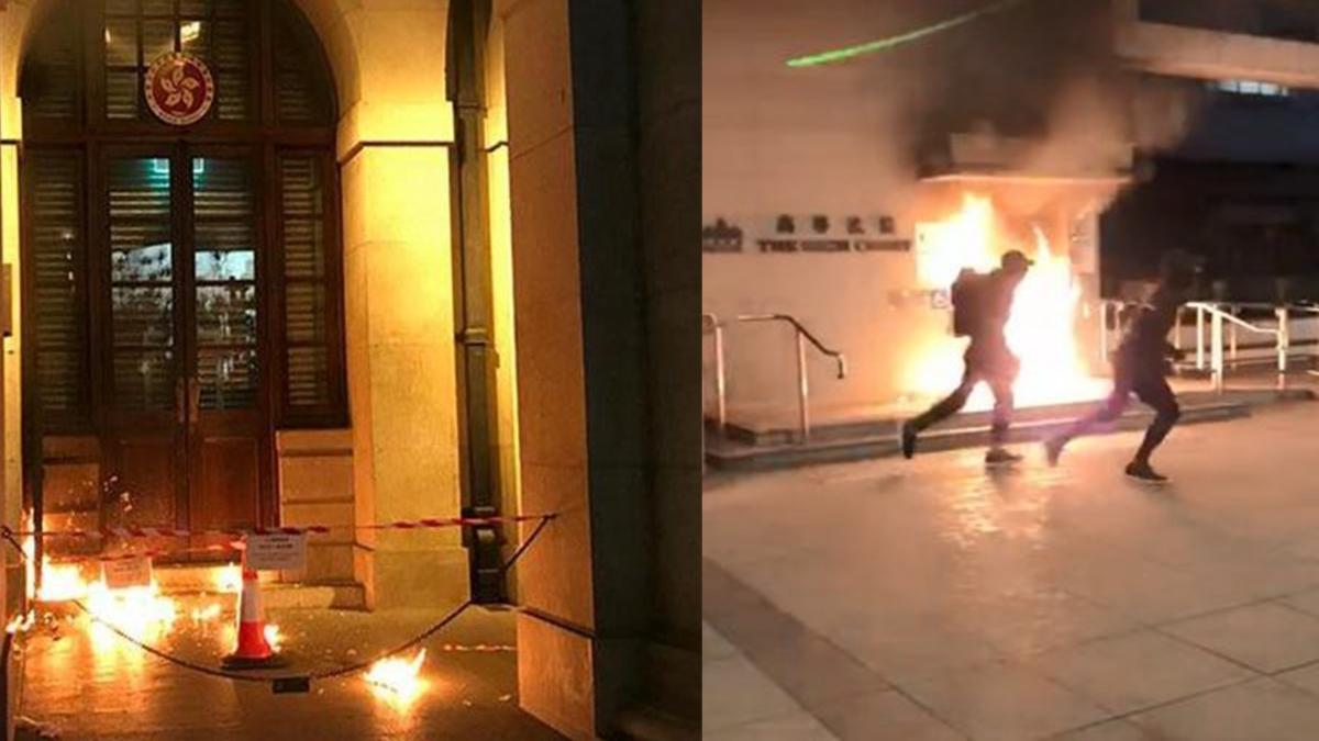 香港高院、終審法院接連遭縱火,目擊者質疑是港警假扮抗議者所為。(網絡圖片)