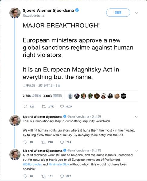 【快訊】歐盟通過歐洲《馬格尼茨基法案》