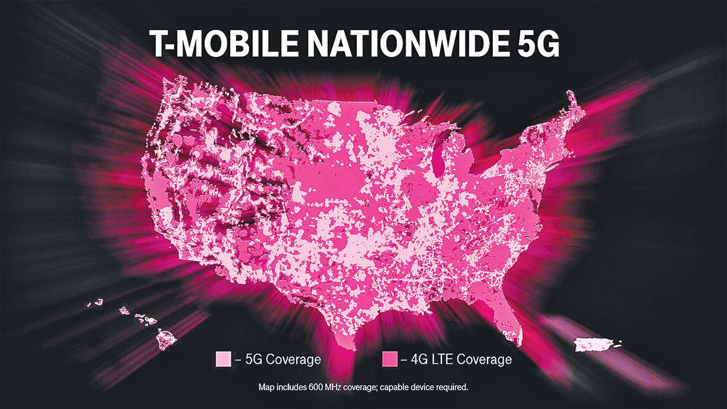 美國第三大電信公司T-Mobile 成為首家在全美推出真正5G無線服務的電信商。圖為T-Mobile的5G和4G LTE在美國的覆蓋分佈地圖。(T-Mobile)