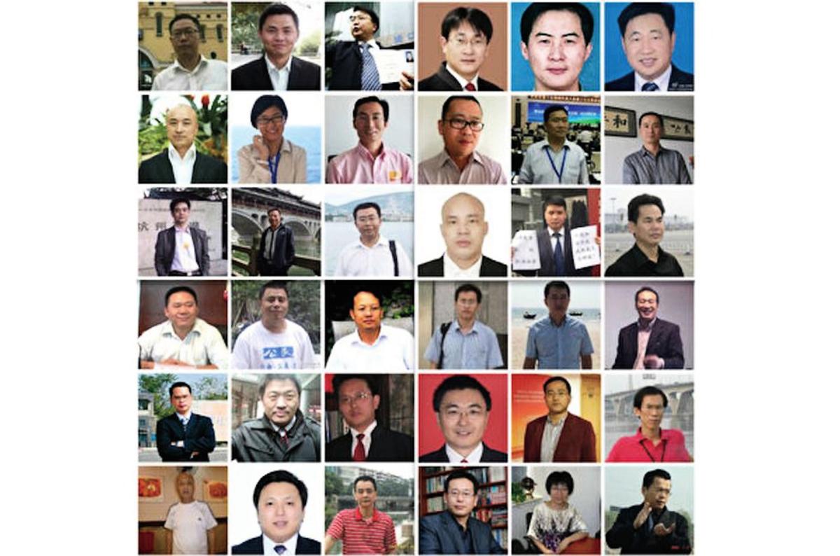 2015年「709大抓捕」,逾310名律師及家屬、公民被抓捕、拘留、傳喚。(大紀元合成)