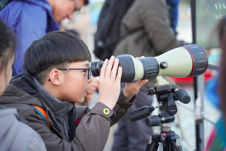 各調查點均準備專業觀鳥工具單筒望遠鏡,供參加者近距離觀察麻鷹。(香港觀鳥會提供)