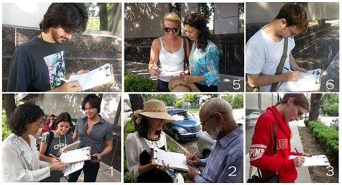 侯斯頓中領館前人們簽名支持法輪功