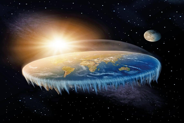 扁平的地球示意圖。(ShutterStock)