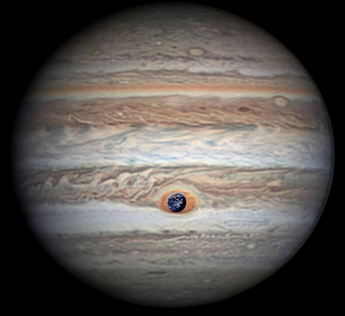 木星大紅斑與地球的大小對比示意圖。(NASA/JPL-Caltech/SwRI/MSSS/Christopher Go)