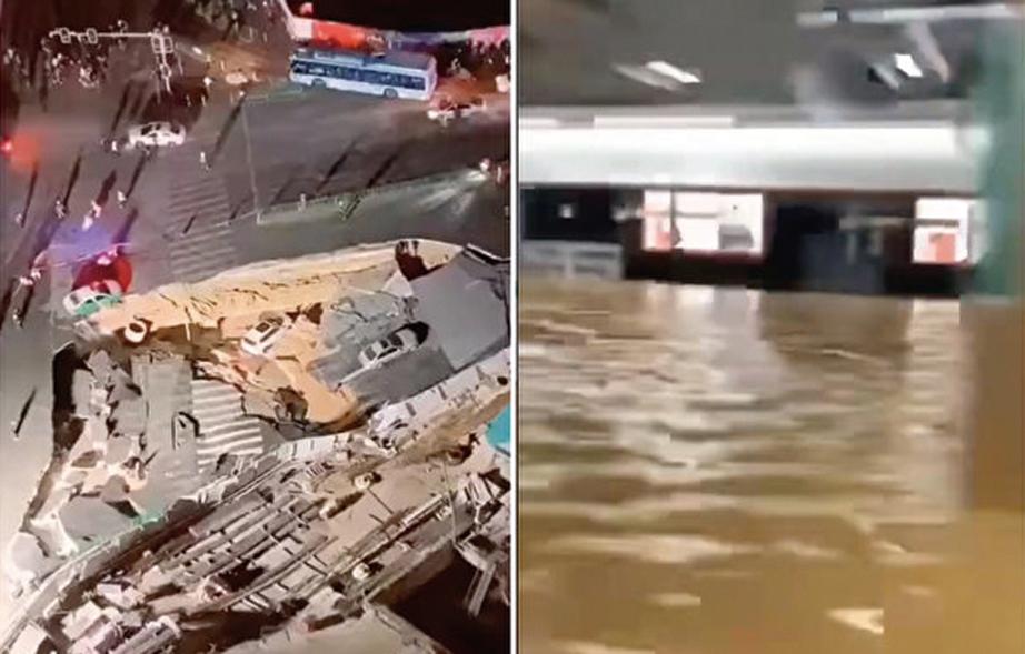 廈門二號線地鐵站發生地面塌陷,2車墜入 坑內,大量積水湧入站台。(影片截圖)