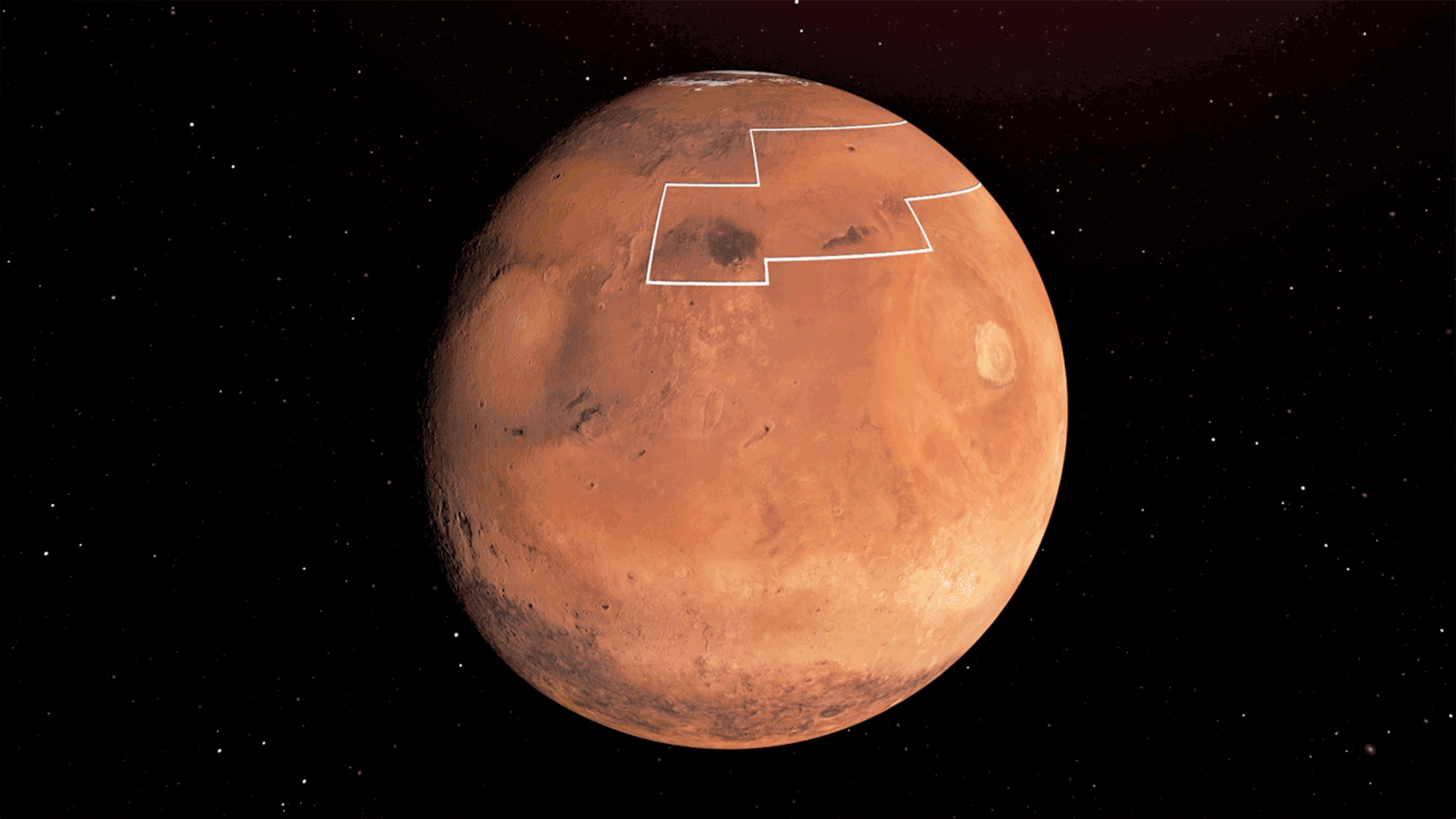 NASA於2019年12月10日發佈的火星上水冰分佈圖像。(NASA/JPL-Caltech)