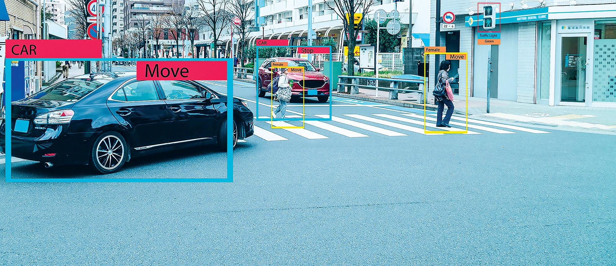 各個公司都採用仿真測試的方式,加快自動駕駛系統的學習進度,圖為仿真測試中的識別影像。(Shutterstock)