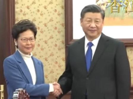 習近平12月16日在北京會見香港特首林鄭月娥。(影片截圖)