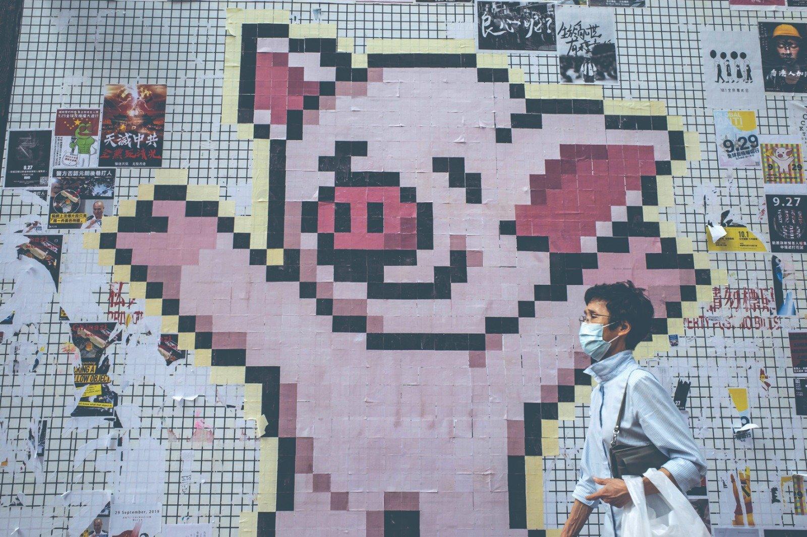圖為香港一連儂牆上「連豬」拼圖(Getty Images)
