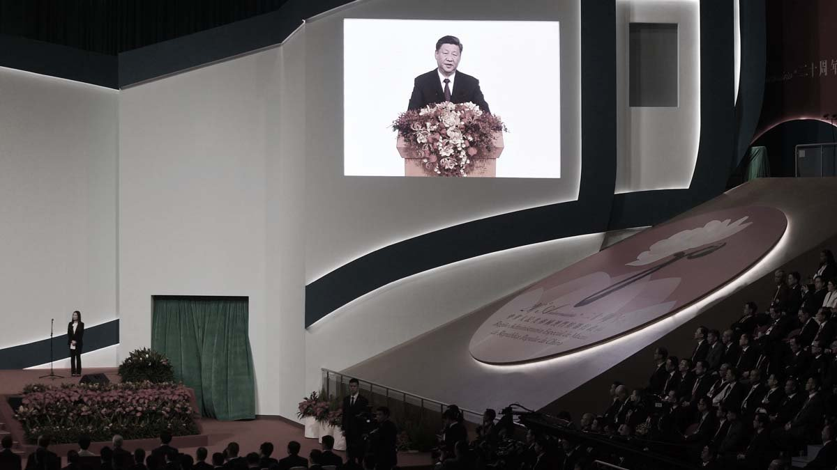 圖為12月20日,習近平在澳門講話。(PHILIP FONG/AFP via Getty Images)