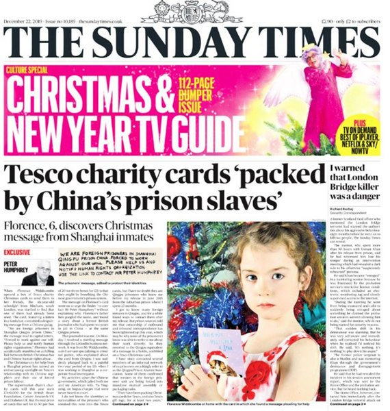 英女孩聖誕卡發現來自上海囚犯求救信