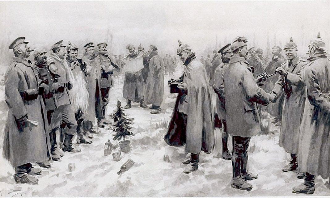 發表於1915年1月9日《倫敦新聞畫報》的示意圖片。英國與德國官兵手把手聯歡,互換頭盔,慶祝聖誕節。地上有一株德國運來的迷你聖誕樹,一名德國軍官正在拍照留念。(公有領域)