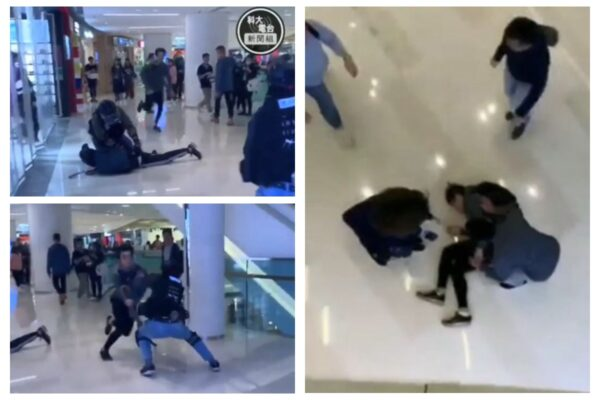 19歲姓周青年因逃避防暴警察追捕,從商場二樓高處躍下墜落地面。(科大電台片段截圖)