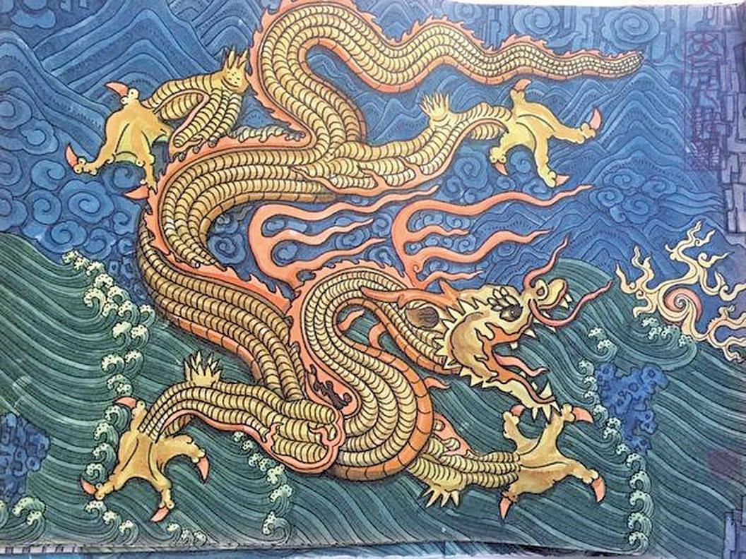 傳說中的龍,是多種動物的結合體,即角似鹿,頭似蛇、眼似兔、項似蛇、腹似蜃、爪似鷹、掌似虎、耳似牛。圖為父親畫的龍。(雲泊提供)