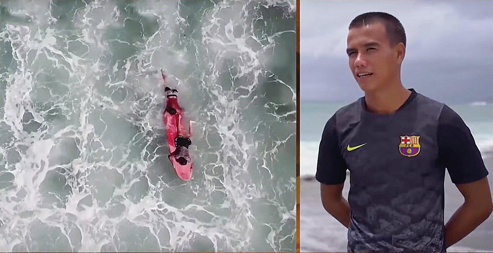 羅傑救了阿里普後,兩人搭著羅傑的浪板回來。(影片截圖)