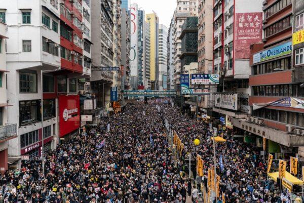 2020年1月1日,103萬港人在新年第一天走上街頭,再度創下香港奇蹟。(Anthony Kwan/Getty Images)