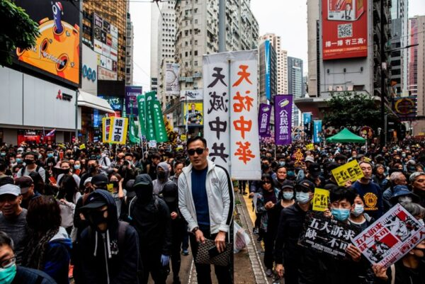 2020年1月1日,103萬港人在新年第一天走上街頭,再度創下香港奇蹟。(ISAAC LAWRENCE/AFP via Getty Images)