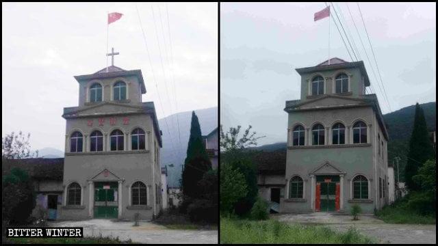 教堂的十字架、「基督教堂」的字樣被拆前後 。 (Bitter Winter 網站)