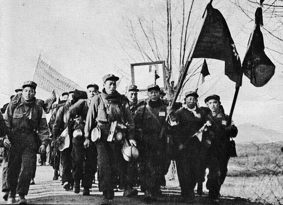志願軍戰俘赴台灣。(公有領域)