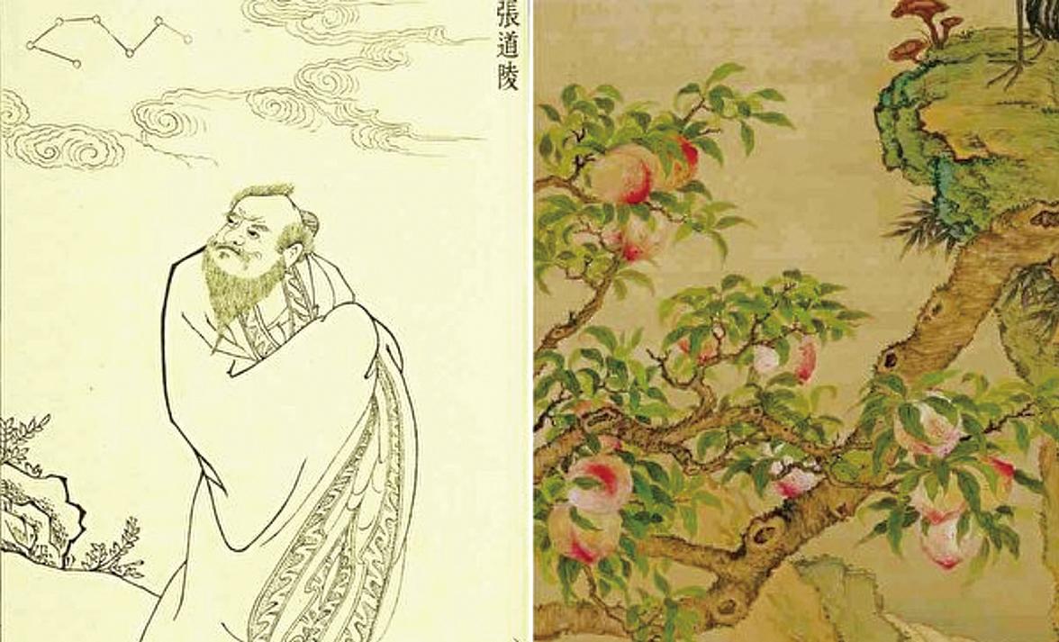 張天師煉成了仙丹,卻只吃了半服,不急著升天,他要等他的另一個徒弟出現。右為鄒一桂《蟠桃圖》(局部)(公有領域/大紀元合成)