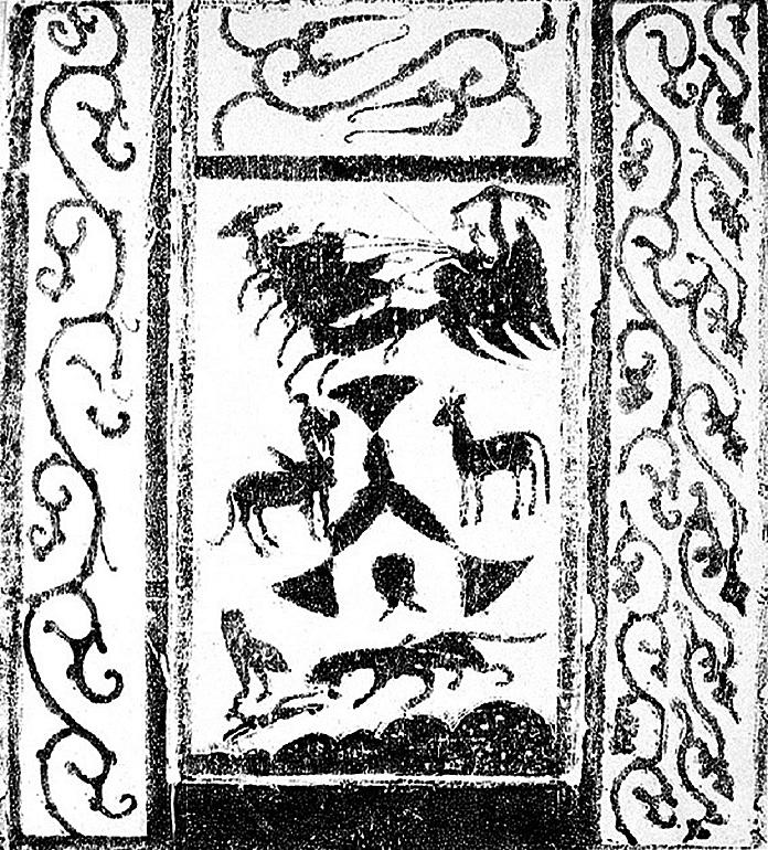 鹿車升仙,東漢畫像石,山西離石馬茂莊左元異墓出土(公有領域)