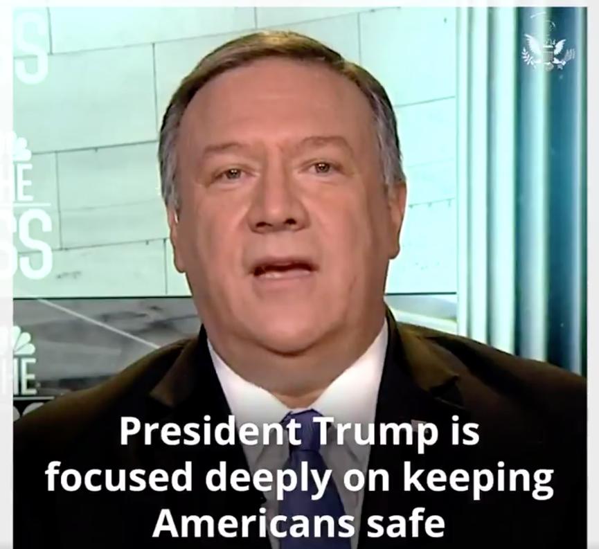 美國國務卿蓬佩奧(Mike Pompeo)6日(美國時間)在接受媒體訪問中表示,美國空襲擊斃蘇雷曼尼(Qassem Soleimani),讓世界變得更加安全,如果不採取任何行動,將會帶來更大的風險。並警告伊朗當局如果實施報復,美國將進行果斷強有力的回應,讓他們付出更高代價。(視頻截圖)