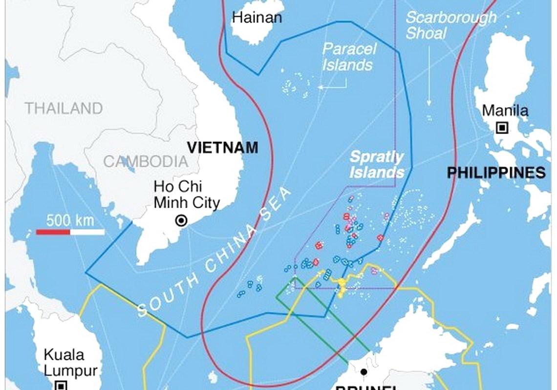 7月12日,南海仲裁後,周邊國家對南海的海權聲索。(維基公有領域/美國之音)