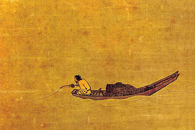 柳宗元的《江雪》,讀來卻不僅讓人頓生寒意,還感受到文字中千鈞的重量。圖為宋‧馬遠的《寒江獨釣圖》(局部)(公有領域)