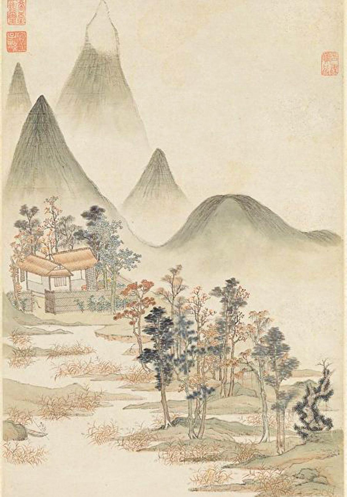 詩仙李白在晚年創作《獨坐敬亭山》,意境靜謐遼遠,已然在孤獨中泰然自若,達到天人合一的境界了。圖為明‧顧凝遠《山水》(公有領域)