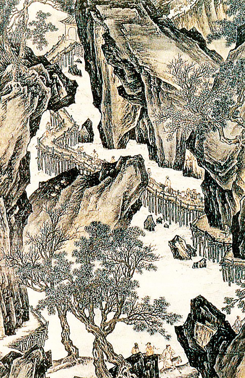 《蜀道難》詩意圖,清朝畫家袁耀繪。(公有領域)
