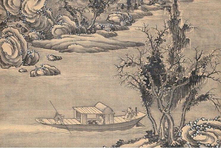 圖為元‧ 唐棣的《朔風飄雪圖》( 公有領域)