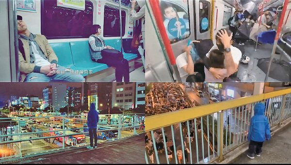 Facebook專頁「辣台派」發佈《大聲說話-兩個世界版》,利用分割畫面,對比台灣人習以為常的生活(左)與香港反送中運動的畫面。(影片擷圖)