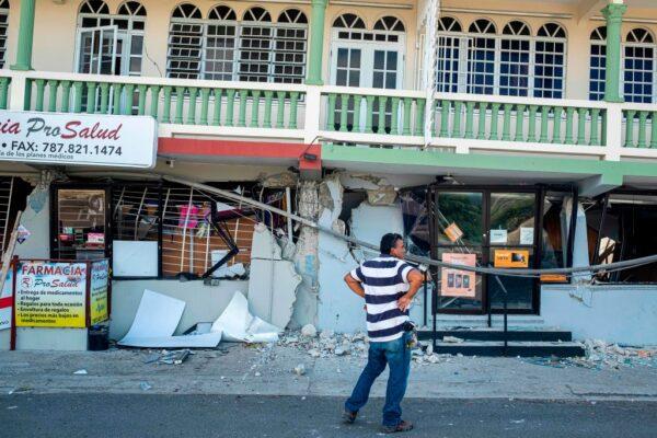 波多黎各7日遭逢一連串地震侵襲,最大規模為6.4,是102年來波多黎各遭遇過最強地震,約300個住家遭摧毀或破壞。(RICARDO ARDUENGO/AFP via Getty Images)
