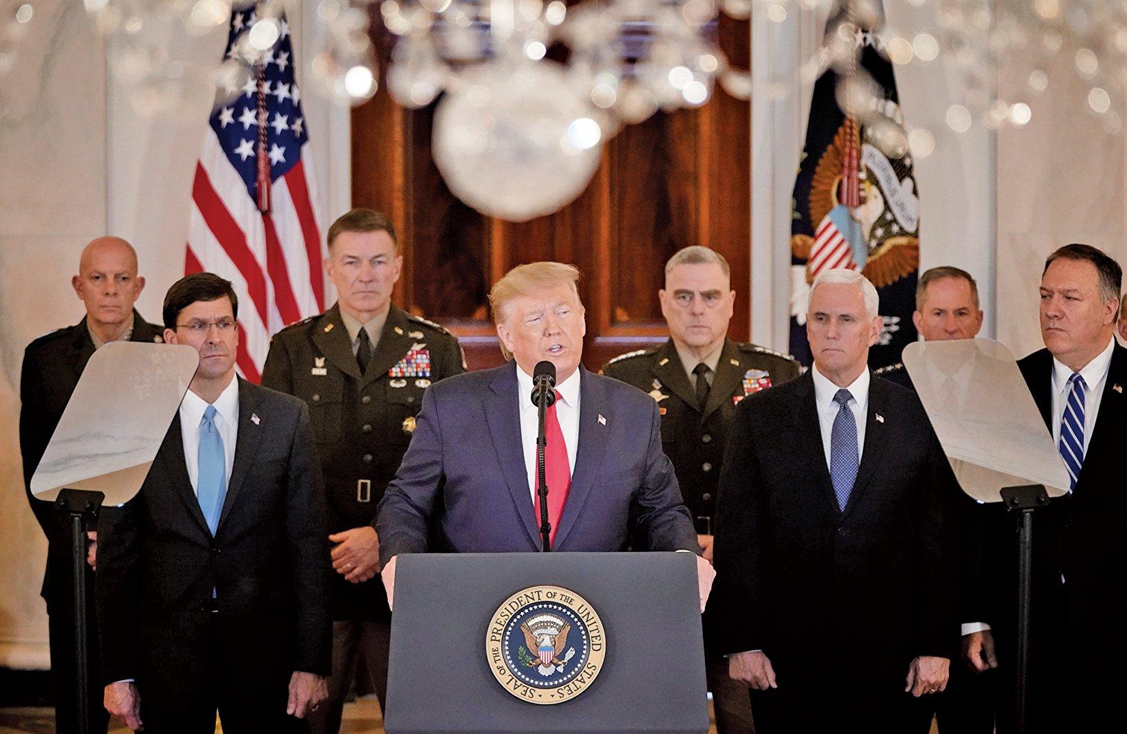 美國總統 特朗普在美東時間周三(1月8日)上午11時30分,在白宮大廳發表針對伊朗襲擊伊拉克美軍基地的講話。(AFP)