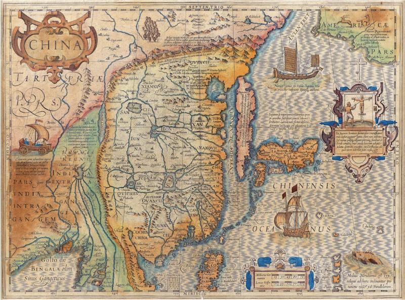 中國地圖。傑拉杜斯麥卡托,約1606年,香港海事博物館藏。(香港海事博物館網站)